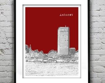 Amherst Massachusetts Skyline Poster Art Print MA Umass Version 1