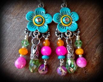 hot pink earrings, bohemian jewelry, turquoise flower earrings, crystal chandelier earrings, summer boho jewelry, flower child