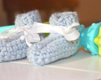 Blue Preemie Baby Boy Booties - Crocheted Baby Booties - Baby Gift