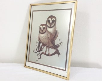 "Vintage Owl Print Mirror Decoration ""Brytone, Mechanical Mirror Works Inc. Madison Ave."""