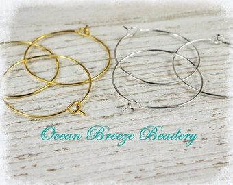 Bulk Sale 100 Hoops . Choice of Size~ 30mm or 25mm .  Wine Charm or Earring  . Silver Plated or Gold Plated