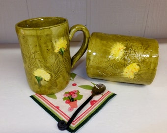 Extra Large Olive Green Dandelion Ceramic Mug, Handmade Stoneware Coffee Cup, Wild Crow Farm Pottery