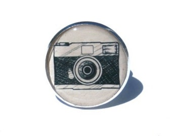 Camera Ring, Photographer Gift, Camera Jewelry, Photographer Camera Ring, adjustable ring, cabochon ring