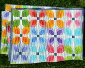 Modern Quilt for sale, throw, single bed, lap quilt, toddler, child, solids, patchwork, Kona Solids, colorful, rainbow