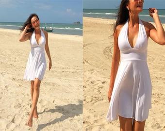 White short dress Marilyn Monroe Halter  dress All size