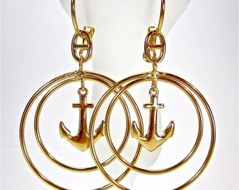 Rose Gold Anchor Spiral Dangle Drop Hoops Earrings Circles - Fashion Jewelry