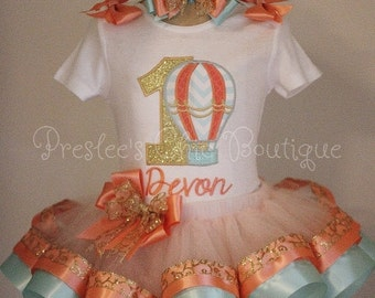 Hot air balloon Birthday tutu set! Perfect for a Birthday party or for pictures!