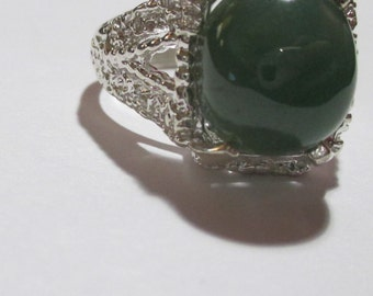 Mens 10.55ct genuine jade handsome sterling silver ring