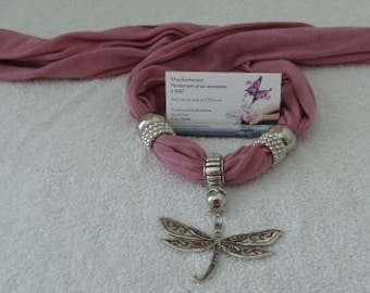 Dragonfly charm with Pink colored scarf