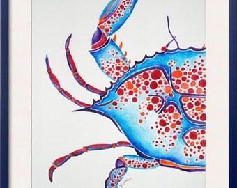 Original Crab Watercolor Painting, Nautical Art, Ocean Art, Abstract Crab, Blue Crab Painting, Crab Watercolor, Ocean Art, Beach Art