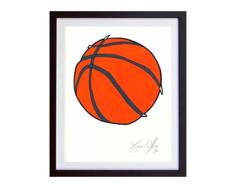 Basketball, Small (color):  Hand Painted, Framed and Signed Edition of 100 by Jason Oliva Art Painting Print Picture Gift Sport NBA