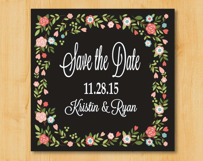 Save the Date Labels | 2 Inch Square | Lovely Floral Border  | Wedding Stickers