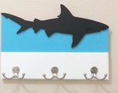 Shark Key or Leash Holder (perfect for beach house!) with Chalkboard Note Area