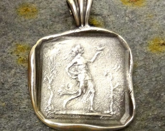 Ancient Greek Goddess Pendant - Handmade in Sterling Silver