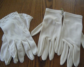 Ladies vintage GLOVES Sizes 6 to 61/2 Two pair  ladies vintage gloves one white and other is soft beige. White gloves  Embroidered at cuff