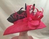 "Pink & Navy Blue Sinamay Kentucky Derby Hat ""Olivia"""