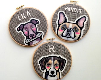 Custom Pet Portrait - THREE Custom Portraits - Custom Dog Portrait - Pet Portrait - Embroidery Hoop Art - Pet Lovers - Gift for Pet Lovers