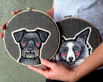 Custom Pet Portrait - LARGE 8 Inch Embroidery Hoop - Personalized Pet Portraits -  Custom Portraits - Gift for Pet Lovers