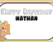 Customised 'Numerical Bear' Birthday cards (5 designs) - Digital