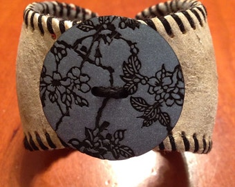 Baseball Cuff with Black and Silver Button
