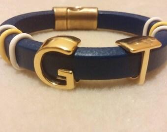 Georgia Tech Leather Bracelet