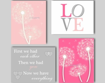Baby Girl Nursery Art Dandelion Nursery Art Dandelion Art Dandelion Nursery Bedding Decor First We Had Each Other Print Collection DA4111
