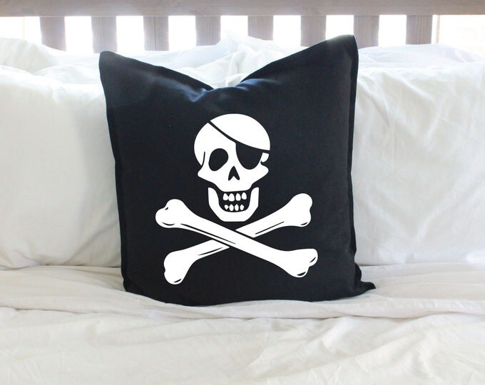 Black or Red Pirate Skull Pillow Cover