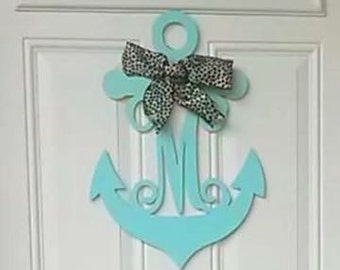SALE!! New Anchor w/ interlocking Vine Font Letter  choose the letter & size) unfinished thin 1/8 birch wood great for wreath or door hanger