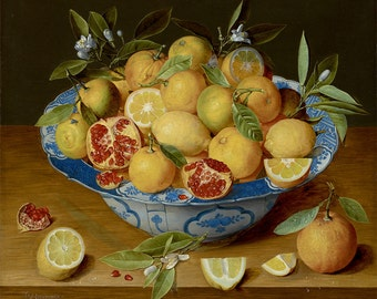 "Jacob van Hulsdonck : ""Still Life with Lemons, Oranges and a Pomegranate"" (c. 1620-1640) - Giclee Fine Art Print"