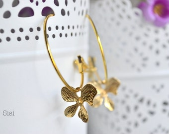 Earrings Creole orchid flower