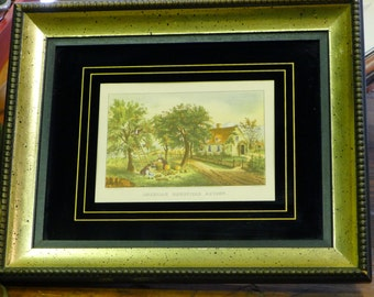 Framed Currier & Ives - American Homestead Autumn