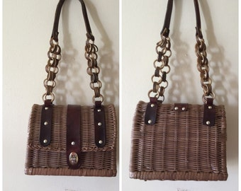 Vintage 60s Wicker Handbag , Mod Rattan Shoulder Bag , Brown Leather , Basket Bag
