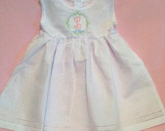 Monogrammed White Linen Dress, Toddler Dress, Baby Dress, monogrammed Easter Dress, White Dress, Flower Girl Dress , Baby Gift