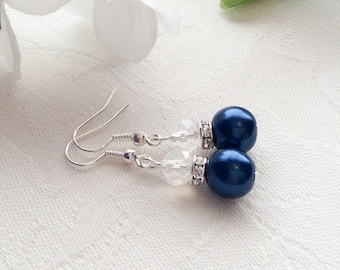 Navy Pearl Earrings Navy Earrings Blue Pearl Earrings Wedding