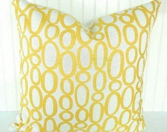Yellow Pillow Cover Throw Pillow Decorative Pillow Toss Pillow  Accent Pillow 18 inch Embroided