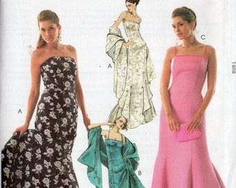 McCall's Pattern 4512 EVENING DRESS & STOLE  Misses 4 6 8 10