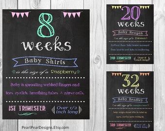 Printable Customized Pregnancy Files 17 even weeks Pregnancy Chalkboard Weeks - from 1st, 2nd, 3rd Trimester weekly pregnancy digital