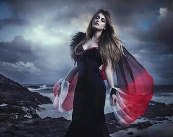 Sale! Night Gothic Wedding Fantasy Gown Ombre Silk Dark Goddess Feathers Dark Elegant Gothic Bride