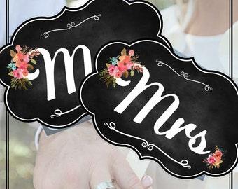 Printable Wedding Signs Mr Mrs - Chalk Board ChalkBoard Banner Photobooth props Vintage Wedding  INSTANT DOWNLOAD