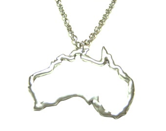 Silver Toned Country Map Outline Pendant Necklace (Select Country)
