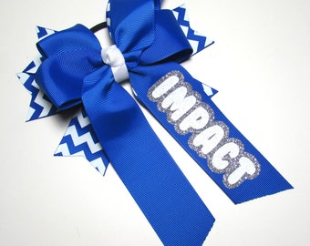 Cheer Hair Bow-Long Tail with White and Royal Blue Chevron Background Spikes a Royal Blue Top Bow and Your Imprint in White & Silver Glitter