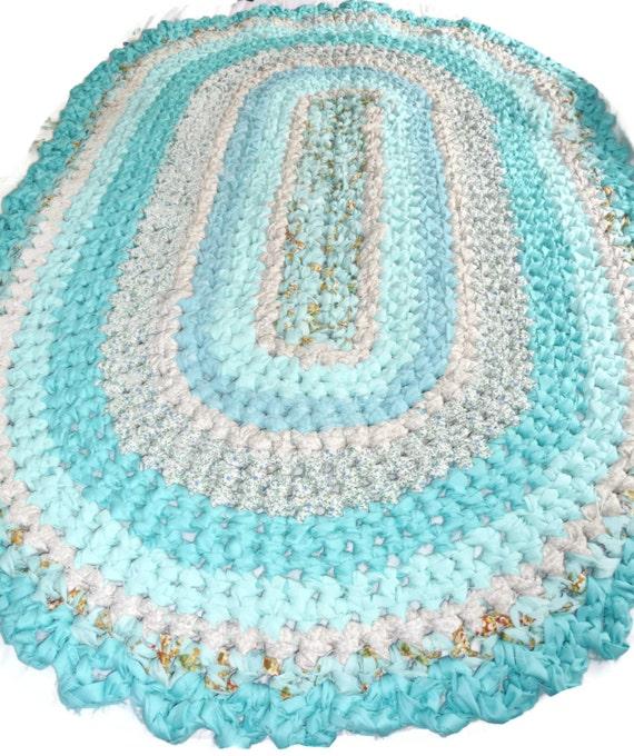 Crochet Rag Rug 32 X 52 Handmade Oval Cotton