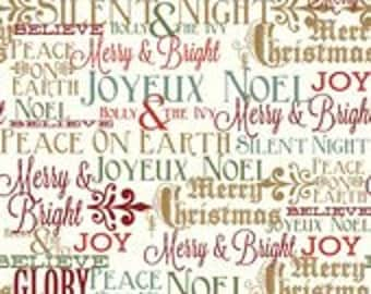 Postcards for Santa Greetings Gold by My Minds Eye for Riley Blake