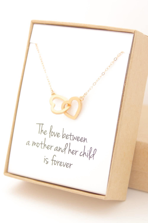 Gold Interlocking Hearts Necklace Heart Jewelry New Mom