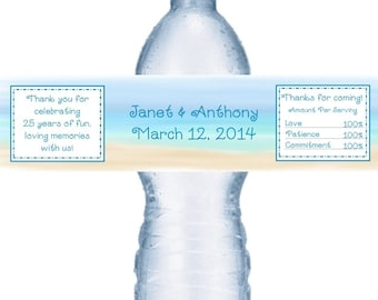 49 Beach Anniversary Water Labels