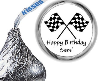 108 Checker Flag Race Car Birthday Party Hershey's Kiss Labels