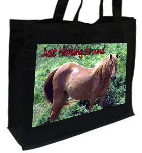 Chestnut Horse Just Horsing Around Cotton Shopping Bag with gusset and long handles, 3 colour options