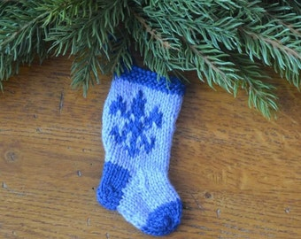 Fleur de Lis Christmas Stocking Ornament  Dark Blue & Light Blue