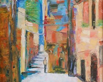 Mediterranean Walk 8x10 Matted Print by Alla Gerzon Palette Knife Colorful art Landscape