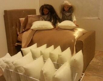 Barbie Pillows. Handmade Pillows for Barbie. Barbie Handmade. Pillows. Bed Pillows. Fashion Dolls Pillows. Miniature Pillows.  Doll Pillows.